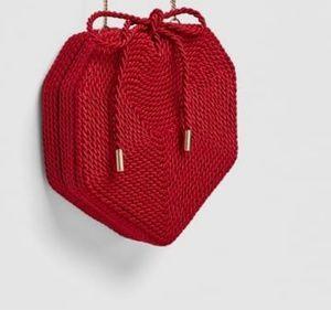 Zara Red Braided Heart Shaped Crossbody Bag